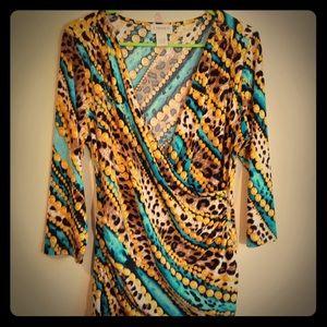 Carmen Marc Valvo women's blouse, colorful top